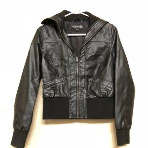 F21 faux leather bomber jacket